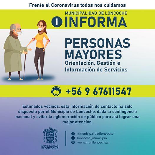 Oficina Municipal para Personas Mayores informa acciones en tiempos de COVID-19.