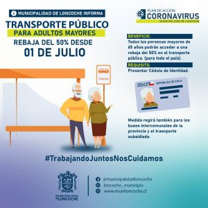 Adultos mayores tendrán rebaja del 50% en el pasaje del transporte público desde julio.