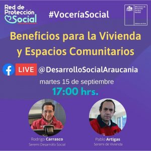 Seremi de Vivienda y Urbanismo Araucanía, invita a informarse por plataforma facebook live.
