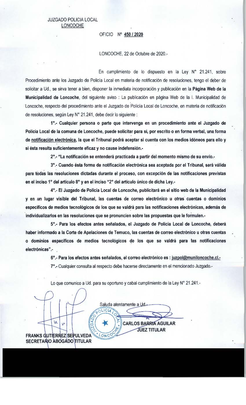 JUZGADO DE POLICIA LOCAL INFORMA: