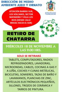 CAMPAÑA ANUAL DE RETIRO DE CHATARRA EN DOMICILIOS URBANOS.