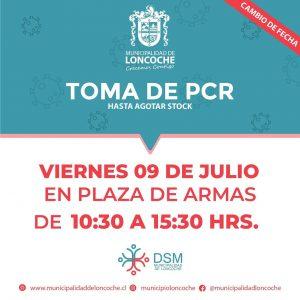 MAÑANA VIERNES TOMA DE PCR EN PLAZA DE LONCOCHE.