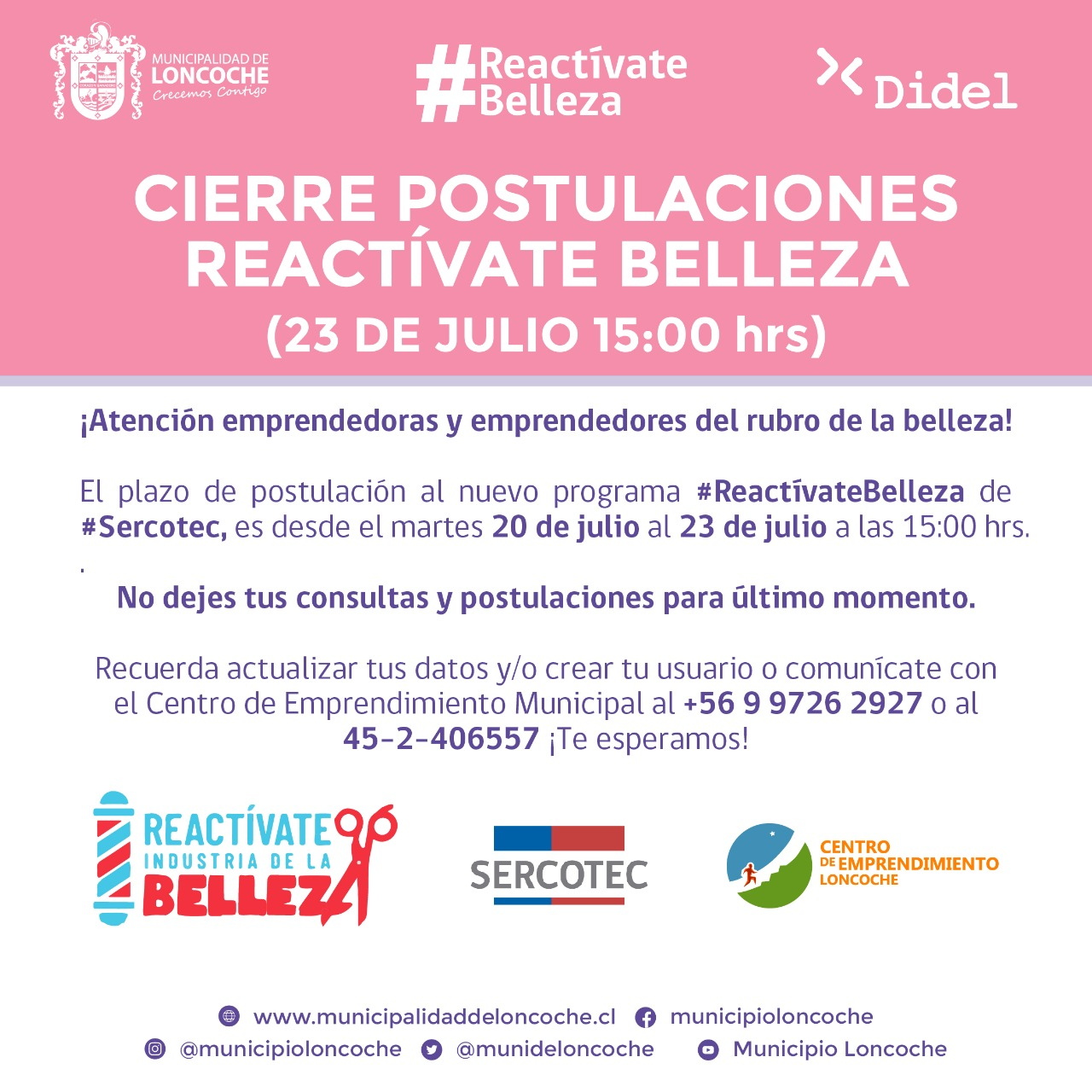 ¡SÓLO HASTA EL VIERNES 23 DE JULIO HAY PLAZO!