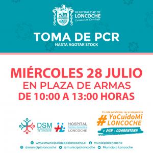 🛑ÚLTIMO MOMENTO | HOY TOMA DE PCR EN PLAZA DE LONCOCHE.