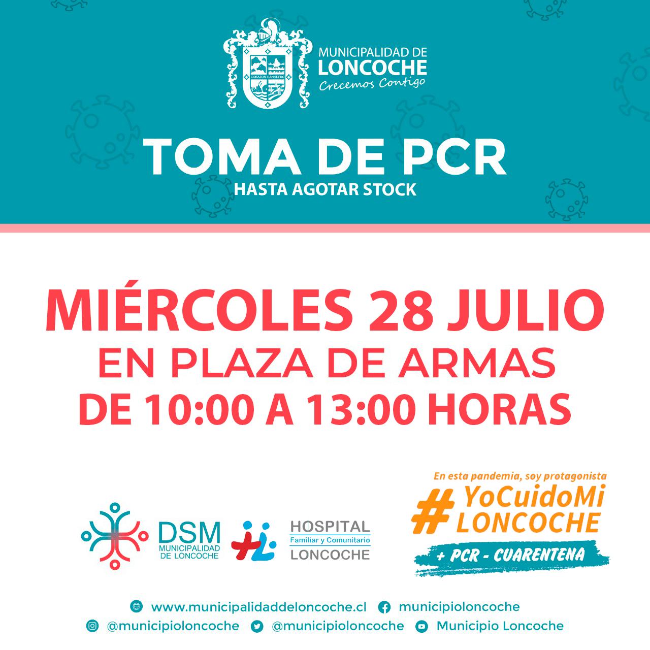 🛑ÚLTIMO MOMENTO   HOY TOMA DE PCR EN PLAZA DE LONCOCHE.