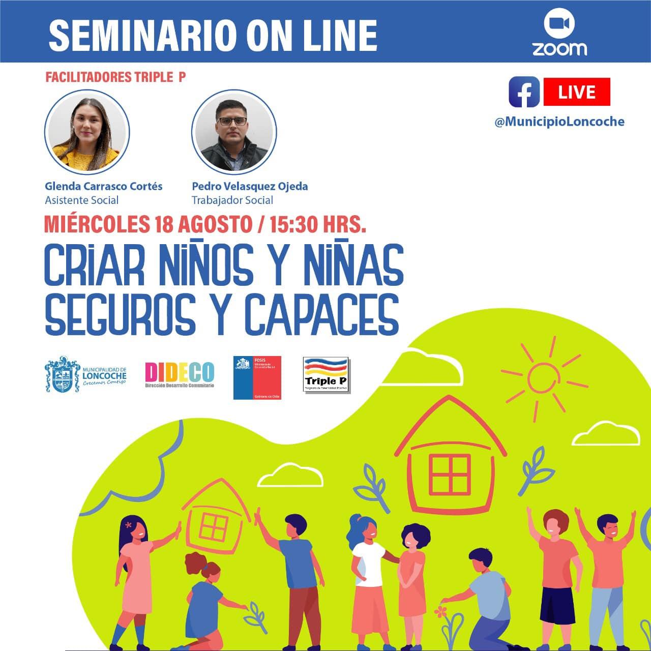 INVITACIÓN A LA COMUNIDAD A SEMINARIO PARENTALIDAD POSITIVA.