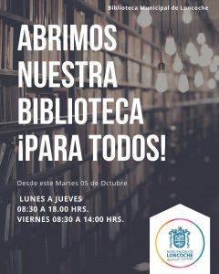 HOY ES EL DÍA!!! BIBLIOTECA MUNICIPAL ABRE NUEVAMENTE SUS PUERTAS A LA COMUNIDAD.